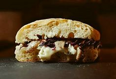 Blue cheese, red radish and anchovies sandwich at La Pagnottella Gourmet in Rome