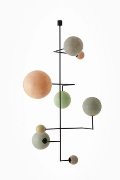 LAMPADA 061DIMORESTUDIO, PROGETTO NON FINITOCeiling lamp, structure in matte black painted metal and handmade spheres in coloured fibreglass.w.192 x d.190 x h.100 cmw.142 x d.145 x h.227 cm