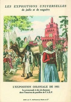"""""""Les expositions universelles de jadis et de naguère - L'exposition coloniale de 1931"""", dépliant carte postale @ Groupe de recherche Achac"""