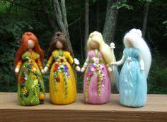 Needle Felted 4 SEASONAL FAIRIES  Wool  Doll Angel Faeries Soft Sculpture Waldorf Inspired. $160.00, via Etsy.