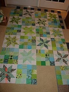 SEWING BLOCK QUILTS I am really liking this quilt pattern for the auction. You could also have different star blocks. Or just one vertical or horizontal row of stars with the 16 patches all around that row. Sampler Quilts, Star Quilts, Scrappy Quilts, Baby Quilts, Mini Quilts, Quilt Block Patterns, Quilt Blocks, Star Blocks, Sewing Patterns