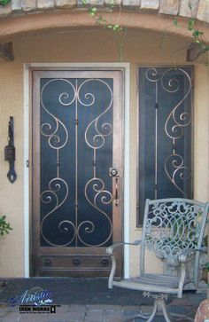 Biscay   Wrought Iron Security Screen Door With Matching Window Guard    Model: