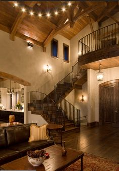 Rustic home, wood beamed ceiling, staircase