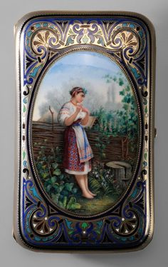 Russian Enamel Gilt Silver Cigarette  Case - Lot 213 of July 2012 Auction. Moscow,1887, rounded rectangle, oval enameled scene with lady at fence, various colors of scroll and stylized flowers, marks for JFA (Ivan Audreyev, working 1883-1896), retailer Tiffany & Co., no monogram, .875 fine, 7.22 oz.T., 2-5/8 x 4-1/4 in.    Estimate $1,500 to $3,000