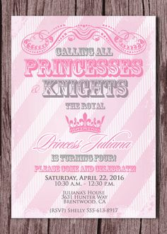 Princess and Knight Birthday Party Invitation - Prince and Princess - Princesses and Knights Party Invitation 5x7 - Pink, Gray Silver