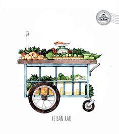 [Illustrations] The Beauty of Saigon Street Carts Through the Eye of Its Beholder - Saigoneer Indian Illustration, Watercolor Illustration, Car Illustration, Watercolour, Food Trolley, Vietnamese Street Food, Filipino Culture, Street Vendor, Cycling Art