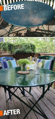 DIY-Breathe new life into a rusty patio set with an electric sander, spray paint, and a little elbow grease! Refinished Patio Furniture, Metal Patio Furniture, Upcycled Furniture, Furniture Makeover, Garden Furniture, Painted Furniture, Diy Furniture, Outdoor Spaces, Outdoor Living