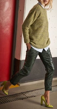 Dark Green Sequin Pants - with sweater and fun heels- perfect for cocktail hour