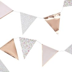 Buy Ginger Ray Ditsy Floral Party Paper Bunting from our Banners & Bunting range at John Lewis & Partners. Rose Gold Paper, Rose Gold Foil, Paper Bunting, Bunting Banner, Gold Banner, Paper Garlands, Decoration Shabby, Deco Rose, Ditsy Floral
