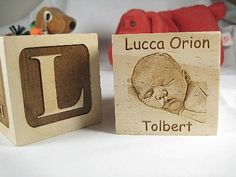 Personalized Engraved Photo Wood Baby Block by engravingwiz, $35.00