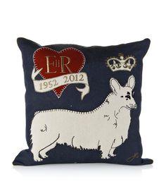 Corgi linen cushion  £99.95  Jan Constantine at Harrods