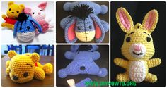 A collection of Crochet Amigurumi Winnie The Pooh Free Patterns: Amigu disney the pooh bear in various designs, bear backpack, eeyore the donkey,