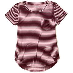 Hollister Must-Have Easy Pocket Tee ($14) ❤ liked on Polyvore featuring tops, t-shirts, hollister, burgundy stripe, curved hem tee, crew neck tee, crew t shirts, pocket t shirts and stripe t shirt