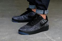 Nike airforce one flyknit low black-white