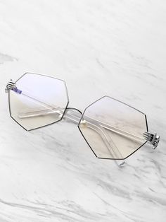 f4b193e9e2 Shop Palm Detail Polygon Glasses With Clear Lens online. SHEIN offers Palm  Detail Polygon Glasses With Clear Lens   more to fit your fashionable needs.