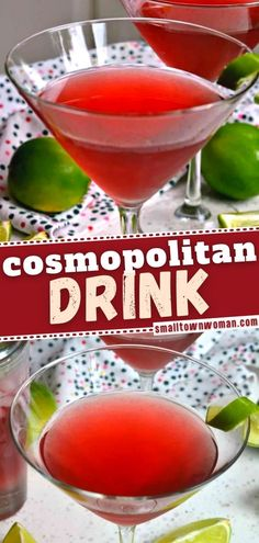 Get ready for a gorgeous and tasty mixed cocktail! Cosmopolitan is sure to become your new favorite. A handful of ingredients are all you need for this easy game day drink! Garnished with a fresh lime twist, it is also perfect for a New Year's Eve party! Save this pin! Cocktail Drinks, Fun Drinks, Beverages, Cocktails, Cosmopolitan Drink, Easy Family Meals, Family Recipes, New Years Eve Food, Tasty