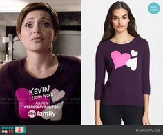 April's purple heart sweater on Chasing Life.  Outfit Details: http://wornontv.net/51168/ #ChasingLife