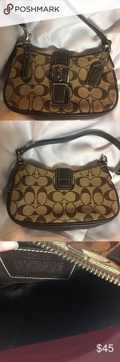 Coach mini purse Authentic dark brown and tan, excellent condition❤ Coach Bags Mini Bags