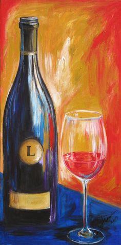 Painting by Sharareh Chakamian#www.sherisartstudio.com.#Wine bottle and wine glass art  limited edition by SherisArtStudio, $150.00