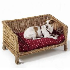 Pets Sofa Basket Dog Cat Wicker Hand Woven Confy Cushion Deep Red Snooze Chill In Pet Supplies Dog Supplies Beds