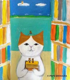 """""""Library of the beach"""" - Pepe Shimada Ugly Cat, Tinta China, Dog Poster, Dogs And Kids, Cute Animal Drawings, Cat Colors, Cat Love, Crazy Cats, Cat Art"""