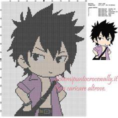 Gray (Fairy Tail) schema punto croce 100x136 6 colori