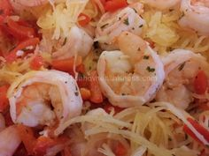 Shrimp Scampi with Spaghetti Squash ****21 Day FIX Containers: I usually eat 1 green container worth of spaghetti squash and 1 red container worth of the shrimp and count it as 1 Green, 1 red and 1 tsp of oil ******