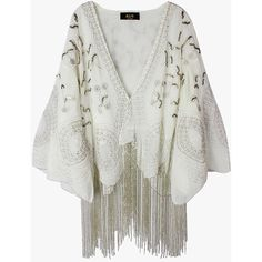 White Beaded Cardigan with Long Fringe ($129) ❤ liked on Polyvore featuring tops, cardigans, outerwear, genuinepeople, jackets, white, white beaded top, fringe tops, long fringe cardigan and beaded cardigan