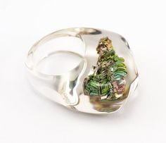 Clear resin ring with Bismuth Rainbow Resin Ring Resin by sisicata