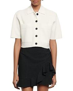 SANDRO ELANN SHORT SLEEVE CARDIGAN. #sandro #cloth Short Sleeve Cardigan, White Cardigan, Short Sleeves, White Skirts, Mini Skirts, Crop Shirt, Fashion Days, Sandro