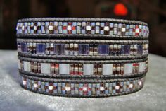 FLOWERS in the MIST 4 or 5  Wrap Leather Bracelet featuring only Grays & Pinks Japanese Miyuki Seed Delica Seed and Tila Beads,Flower button