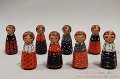 Tiny Girl Wooden Peg People Doll Green Eyes with by mytinystudio