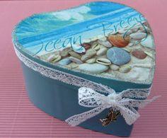 Große Herz Geschenkschachtel in blau mit Strand von Schmucktruhe