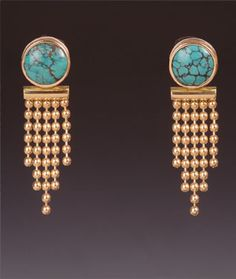 Maria Samora 18k gold bead chain & Chinese Turquoise earrings with taper