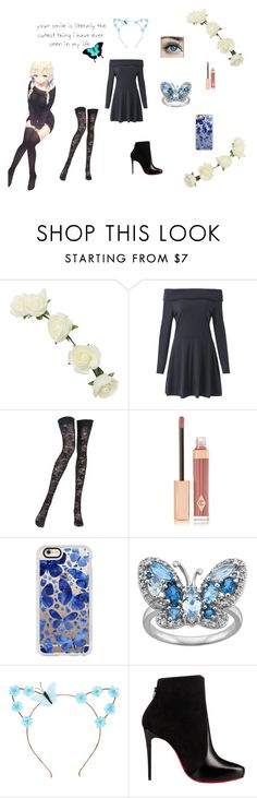 """""""My Little Blue Butterfly"""" by wonderlandishome ❤ liked on Polyvore featuring MoMo, Wet Seal, Pierre Mantoux, Charlotte Tilbury, Casetify and Christian Louboutin"""