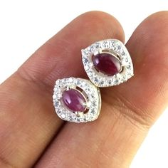 FREE SHIPPING 925 SOLID STERLING SILVER NATURAL RUBY CAB GEMSTONE STUDS/TOPS #SilvexStore #Stud
