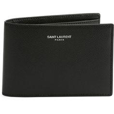 Saint Laurent Classic Leather Bi-Fold Wallet featuring polyvore, men's fashion, men's bags, men's wallets and black