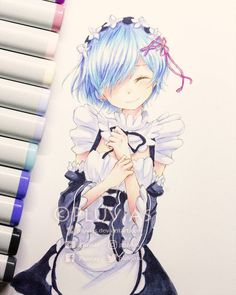 "3,827 Likes, 55 Comments - Pluvias プルヴャス (@pluvias_) on Instagram: ""Rem from Re:zero, first time doing a blue hair with copics >w< Colors: Copic Markers #rezero…"""