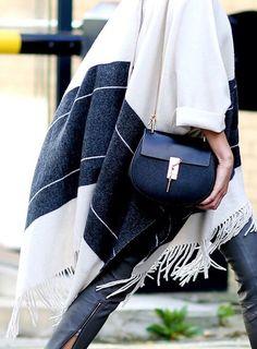 Fringed winter poncho style
