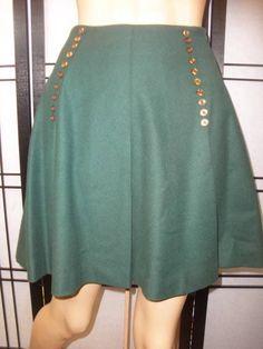 Vtg 70s GREEN WOOL SCHOOL GIRL HIGH WAIST Nautical Pleated Dress Mini Skirt