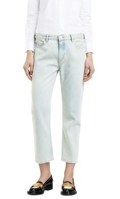 Pop vintage bleach jeans with a relaxed anti fit and lower kicked leg #AcneStudios #denim #jeans