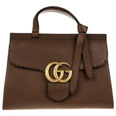 Gucci Handle Bag - Marmont GG Tophandle Leather Brown - in brown -... ($1,915) ❤ liked on Polyvore featuring bags, handbags, gucci, brown, leather hand bags, top handle handbags, brown handbags, leather flap handbags and gucci purse