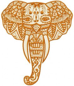 Elephant with tribal embroidery design. Machine embroidery design. www.embroideres.com
