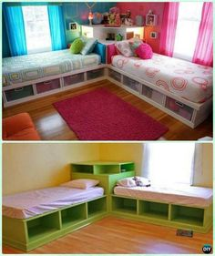 DIY Twin Corner Bed Storage Bed with Corner Unit Instructions-DIY Kids Bunk Bed Free Plans #Furniture, #Woodworking