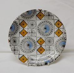 A vintage Compass Tea Plate by Kathie Winkle.1960 s Broadhurst Pottery.