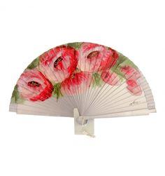 Abanico plateado con flores diseño rojas - Paula Alonso - Tienda online