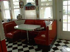 Our half circle booths are perfect for any diner or restaurant but classy enough for your home kitchen of game room. Custom built in your choice of colors. 50s Diner Kitchen, Kitchen Booths, Vintage Kitchen, Diner Booth, Restaurant Booth, 1950 Diner, Retro Diner, Diy Kitchen Decor, Kitchen Redo