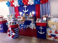 Nautical Baby Shower Decorations, Boy Baby Shower Themes, Baby Shower Fun, Nautical Party, Sailor Baby Showers, Anchor Baby Showers, Boys 1st Birthday Party Ideas, Baby Boy 1st Birthday, Sailor Birthday