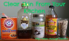 Clear skin from your kitchen--AAAAmazing! Especially the honey, vinegar, and baking soda.  These are cheaper and you can get a large size of each and have face cleanser and exfoliation for at least a couple of months.  Baking soda = $2.00 (big box); honey = $4-$12; Regular Vinegar = $2.50 a gallon; oats = $2.00; unrefined raw coconut oil = $15-$16 per 16-oz jar.