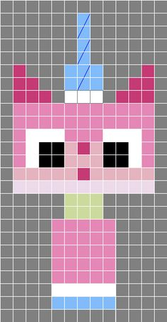Princess Unikitty (The Lego Movie) - Easy 8-Bit Afghans to Knock Your Granny's Socks Off
